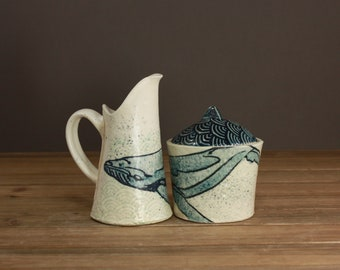 MADE TO ORDER Watercolor Whale Cream and Sugar set, Hip Houseware, Serving Set, Modern Pottery, Beach Decor, Ocean Minded Art