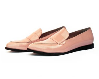 Pink Patent leather Moccasin Shoe