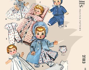 """Reproduction Vintage Baby Doll Wardrobe Sewing Pattern M2183 Size 8-9"""""""