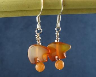 Carnelian Circus Bears on Balls Earrings E180