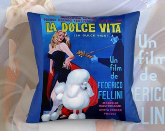 Standard Poodle Art Pillow Case Throw Pillow - La dolce vita Movie Poster  Perfect DOG LOVER Gift for Her Gift for Him