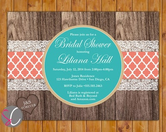 Teal Coral Elegant Rustic Country Bridal Shower Invitation Wood Design Invite 5x7 Printable JPEG Invite (296)