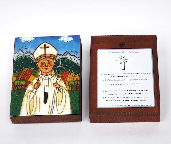 Pope John Paul II Print On Wood Block Saint John Paul II St