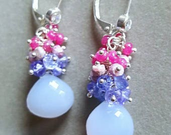 Spring Sale 15% Natural Chalcedony with Tanzanite and Rubies Gemstone Cluster Earrings on Sterling Silver Leverbacks Gift For Her