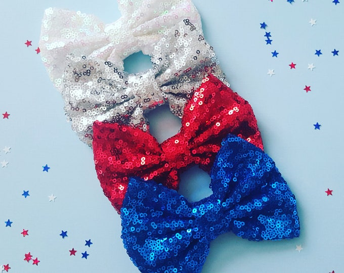 Sparkle Bow || Sequin Bow || Patriotic Bow || Fourth of July Bow || Red glittery bow || Large Bow Headband