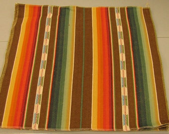 """Laura Kiran Southwest Stripes Rio Grande brown twill like decor fabric sent as 18 or 26"""" pillow size cuts, or sent as sewn pillow cover"""