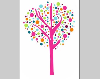 Tree Dot - 13x19 Print - Kids Wall Art for Nursery - Cute, Geometric, Modern - CHOOSE YOUR COLORS - Shown in Hot Pink, Aqua, and More