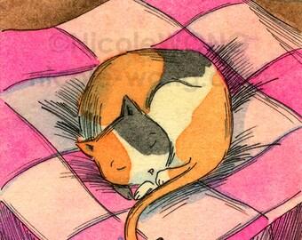 Original ACEO Painting -- Calico Sleep