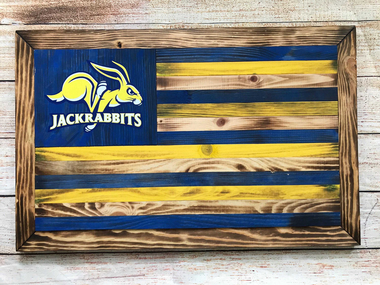 SDSU South Dakota State University Jackrabbits wooden flag