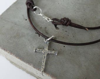 Rustic Sterling Silver Nail Cross on Leather Necklace...Religious, Man, Dad, Husband, Baptism, Confirmation
