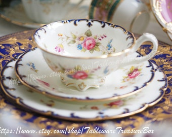 Sale 30% off : Vintage Cauldon tea cup and saucer and dessert plate, trio 3pcs set in floral pattern and gilt rim (B)