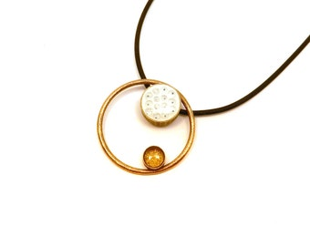 Gravity Necklace in Gold (OOAK 3D printed pendant with enamel)
