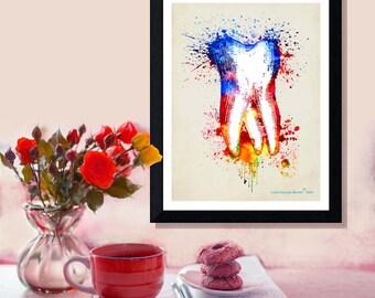"Fine Art Print - ""Watercolor Tooth "" 8.5""x11"", Dental print, Dental Hygenist Gift, Dentist Office Decor, Watercolor Splatter art"