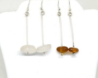 Sea Glass Dangle Earrings, Lake Beach Earrings, Sterling Earrings, Sea Glass Jewelry, Lake Jewelry, Sea Glass Gift, Sea Glass Etsy, Seaglass