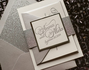 Silver Glitter Letterpress Wedding Invitation, Silver Glitter Wedding Invite, Calligraphy Invitation, Silver Invitation - Sample Set