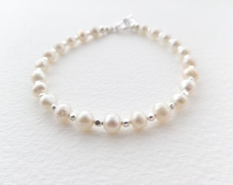 Real Pearl Bracelet, Silver Bracelet, Freshwater Potato Ivory Pearls, Silver beads with toggle clasp, Classic Jewellery, June Birthstone