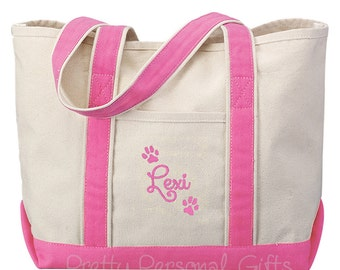 Dog Paw Tote Bag Personalized - Dog Travel Bag - 7 tote bag colors