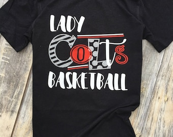 Colts, Lady Colts, Basketball, girls basketball, Mascot, Red and Black Glitter, School Colors, School Pride, Team Spirit Tee Shirt