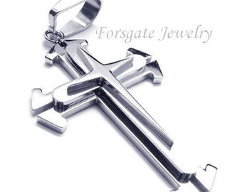Large MENS Polished and Matte 316L Stainless Steel Triple Cross Pendant Design