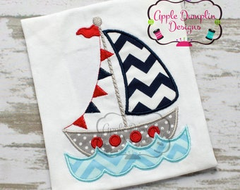 Boy Sail Boat Embroidered Toddler T-shirt, Embroidered T-shirt