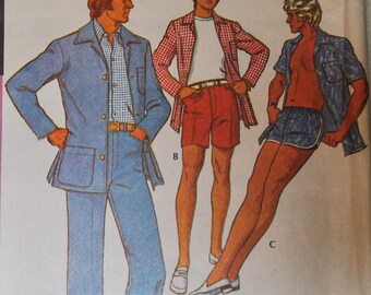 1970s  McCalls 3581 Sewing Pattern, Men's Leisure Suit, Walking Shorts, Jacket, Shirt, Swim Trunks, Chest 42, Waist 36,  Patio Jacket