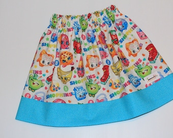 Reversible Skirt Shopkins Size 8 available, girls clothing, gifts under 50, handmade girls clothing, girls skirt, handmade skirt