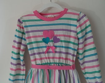 Cute 80s balloon striped Spring dress// Vintage Health Tex made in USA// Girls size 6X