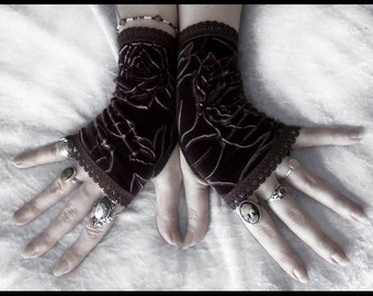 Epona Velvet Fingerless Gloves   Rich Dark Chocolate Brown   Rose Embossed - Gothic Lolita Vampire Victorian Mourning Wedding Goth Fetish