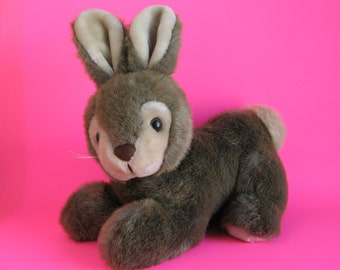 Vintage Bunny Rabbit Stuffed Animal by America WEGO Brown and Cream Faux Fur 1980s Toy Plush