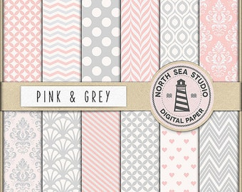 BUY5FOR8, Gray And Pink Digital Paper, Pink Gray Scrapbooking Papers, Grey Backgrounds, Pink Patterns, Instant Download