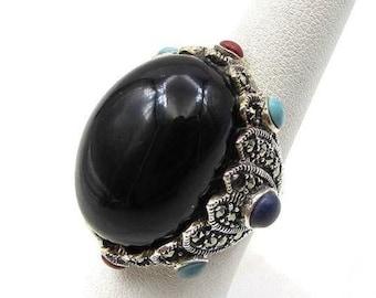 Vintage 925 sterling silver - cabochon cut onyx & gemstones ring sz 8 - r1028