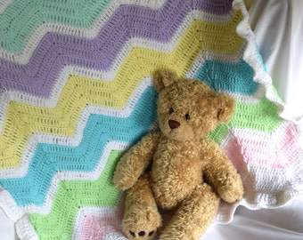 Baby Blanket - Pastel Rainbow Chevron with White Ruffle Trim
