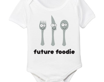 Future Foodie Organic Cotton Baby Bodysuit - Food Lover Chef Cook Newborn Shower Gift