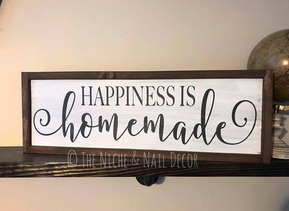 Homemade Wooden Home Decor: Happiness Is Homemade Wood Sign Home Decor Rustic Home