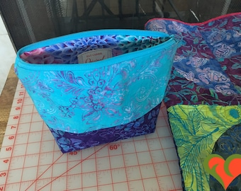Designer Cosmetic/Jewelry Bag. Made with Batik and Kaffe Fassett Fabrics.