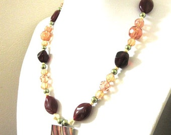 Beaded Necklace Brown Cream Green Chunky Abstract