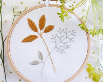 Embroidery kit beginner, Wedding embroidery, Wall Decor - Gold & Gray Leaves - Embroidery Hoop Art, Tamar Nahir