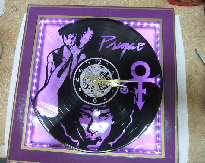 "Featured listing image: Handcrafted Prince Clock - 12"" LP Silhouette - LED Lighted Purple Stained Glass Face - Created in New Bern NC"