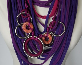 Upcycled t-shirt scarf: Pink, blue and purple with interesting pendant [730]
