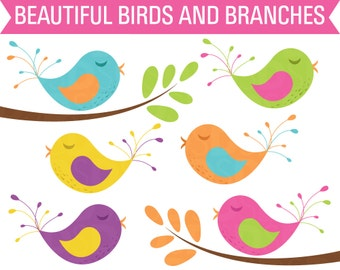Clipart Birds, Clipart Tree Branch, Digital Birds, Clipart Trees, Clip Art Birds, Clip Art Trees, Nature Clipart