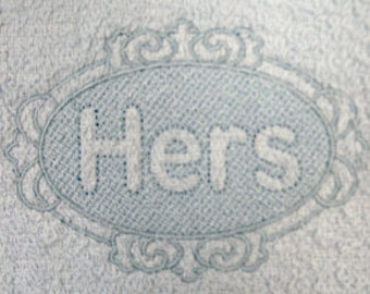 HERS Embossed Embroidered Flour Sack Hand/Dish Towel