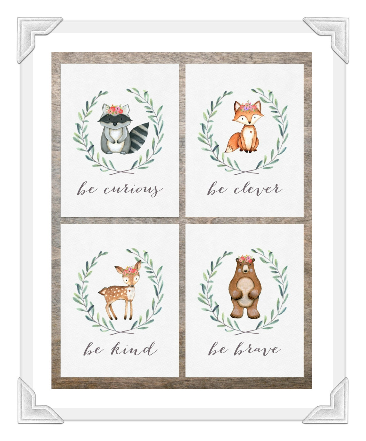 Woodland Nursery Prints Baby Girl Woodland Nursery Be