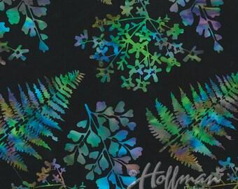 Hoffman -Mixed Leaves Spectrum - P2014-657 - Black - Purple - Ferns - Leaves - Bali Batik - Batiks - Multi - Floral - One More Yard