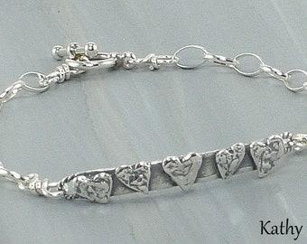 Sterling Silver Bracelet -Sterling Silver Heart Chain Bracelet - KTBL