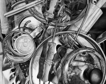 Black and White Pencil Art Print, Graphite Drawing Print, Photorealism Art Print, Kitchen Art, Fine Art Print, Black and White Drawing