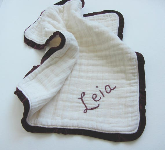 Muslin Velvet Heavenly Lovey Six Layers with Personalized Hand Embroidered Name ~ Baby Lovey ~ Organic Available ~ Gauze Lovey Blanket