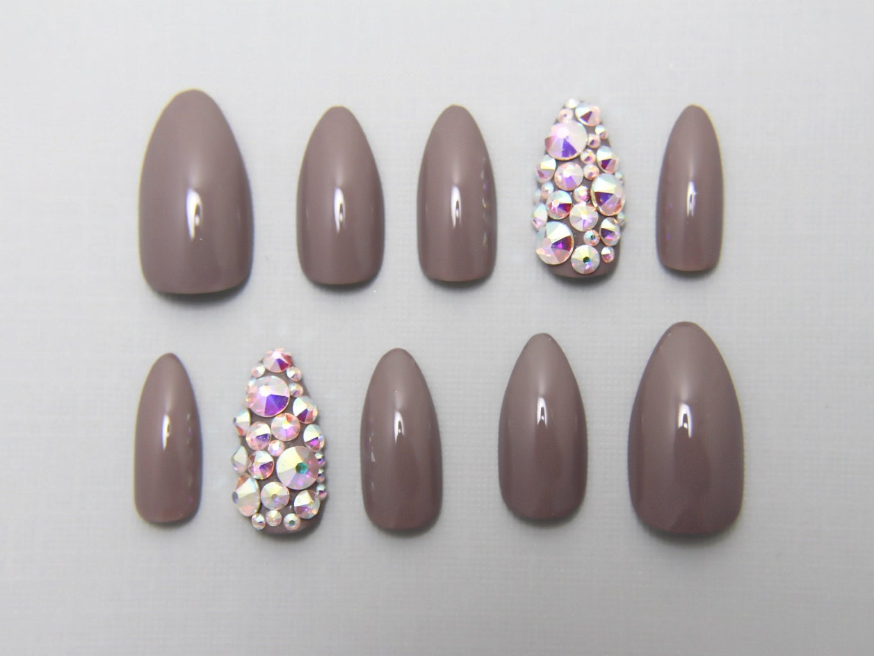 Almond Grey with Full Swarovski Accent Nails | Press On Nails | Fake ...