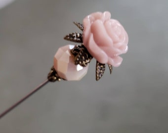 Victorian Hat Pin. Antique Inspired. Beautiful Shell Pink Floral Rose & Filigree Brass, Scarf Pin Stick Pin. DISPLAY or USE! Strong.