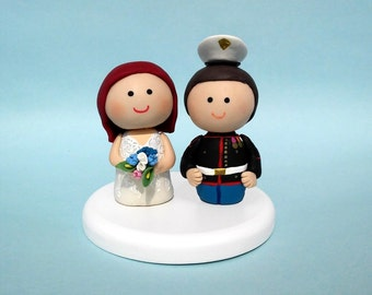Custom wedding cake topper, military wedding cake topper