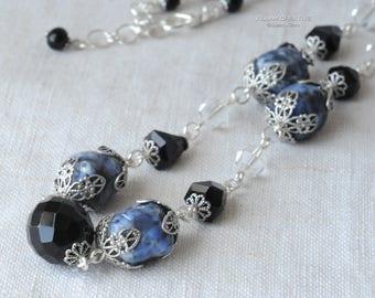 Blue Denim Vintage Bead Necklace, Vintage Beads, Blue, Black, Silver